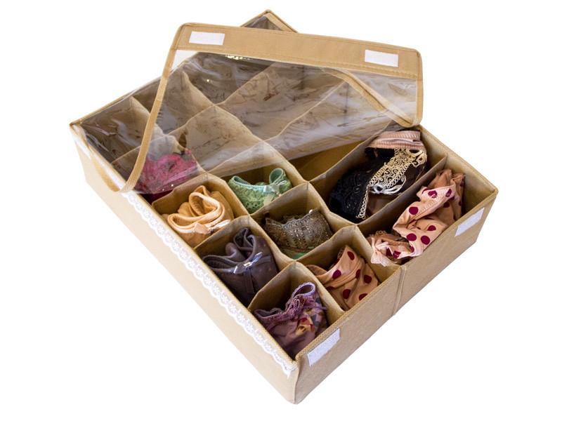 Органайзер коробочка для белья (трусиков, бюстиков) Бежевый с крышкой
