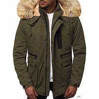 Парка мужская на зиму коттон меховая подкладка зеленая куртка на молнии с капюшоном (зеленая)