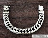 Серебряный мужской браслет панцирный ромб панцирь