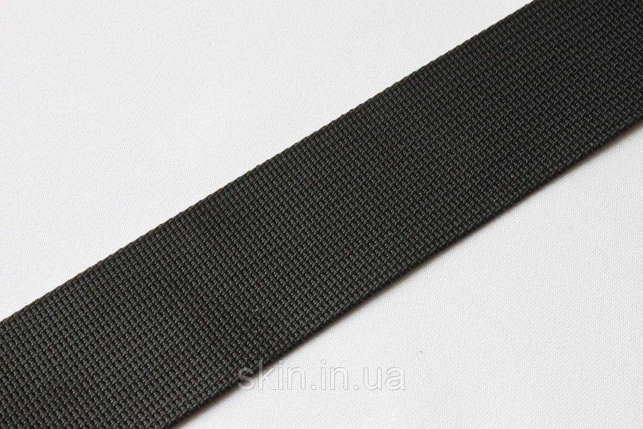Репсовая ременная лента, ширина - 38 мм, толщина - 1,1 мм, цвет - чёрный, артикул СК 5589