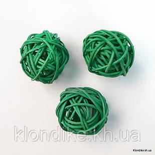 Шарик из ротанга, 3 см, Цвет: Зелёный