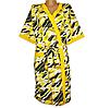 Домашний халат на запах женский больших размеров с карманами, желтый, фото 2