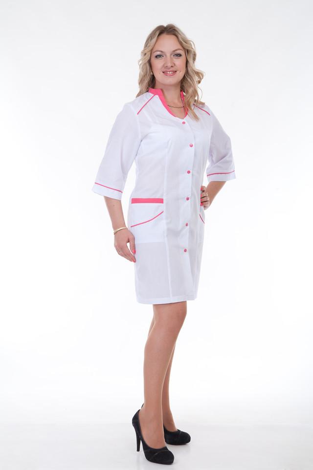 фотография женский медицинский халат с коралловыми вставками