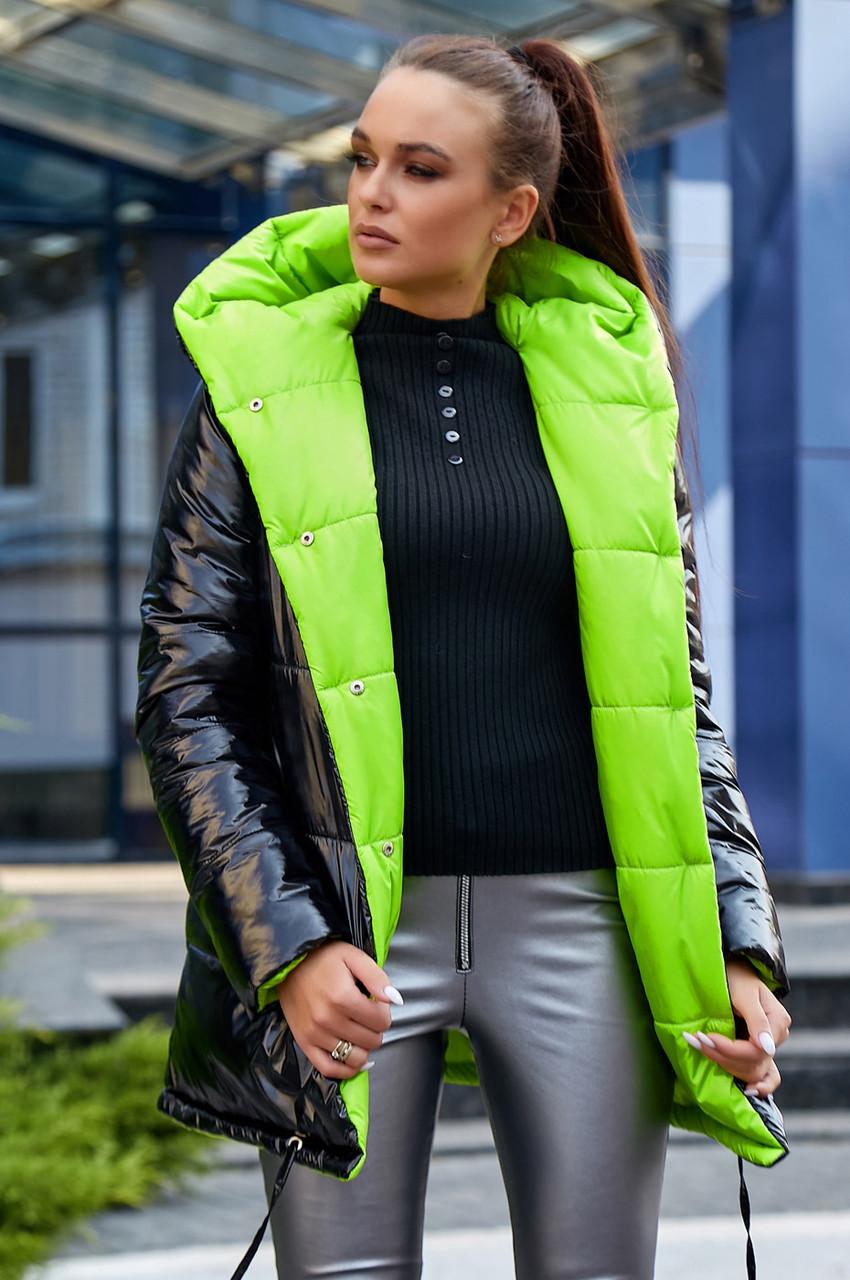 Стильная  двухсторонняя куртка осень-зима 1243.3686  черный с неоновым