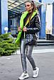 Стильная  двухсторонняя куртка осень-зима 1243.3686  черный с неоновым, фото 3