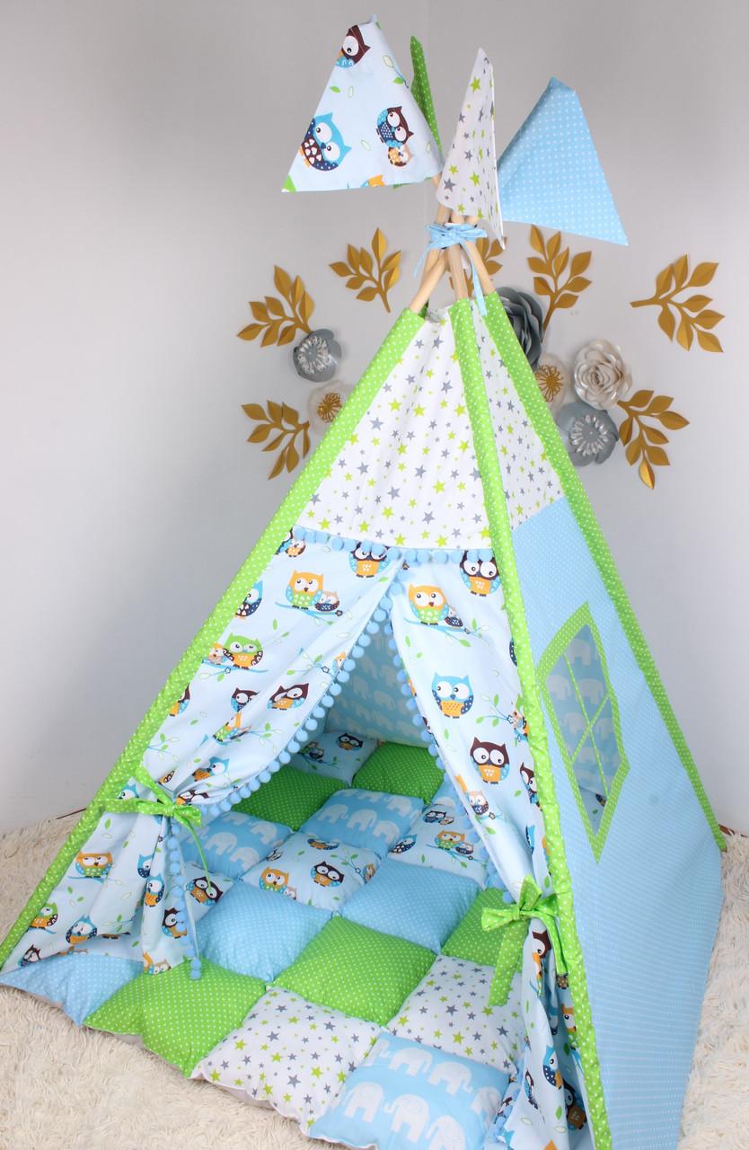 """Детская палатка-вигвам с ковриком """"Совушки"""" 125х125х170 см"""
