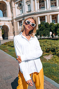 Женская классическая рубашка /белая, 42-48, LL-003/