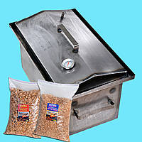 Коптильня горячего копчения 2мм 520х310х280мм с термометром + 2кг щепа (коптилка,каптилка)