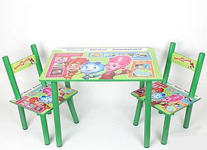 Дитячий столик зі стільчиками з героями мультфільму Фіксікі, дерев'яний, фарбований