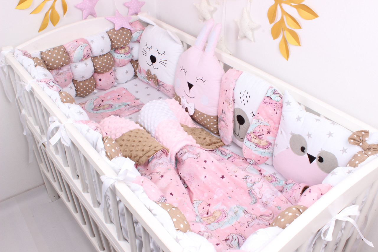 Комплект в кроватку с игрушками и бам-бонами Нежно розовые и коричневом цвета