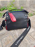 Женская черная кожаная сумка 01042, фото 1