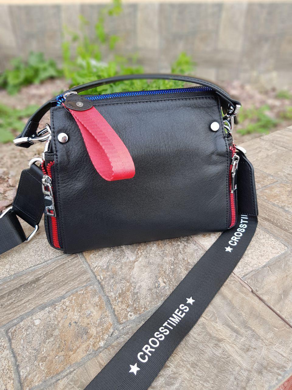 Женская черная кожаная сумка 01042