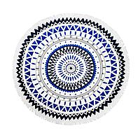 Пляжный коврик Мандала. Сине-черная.150-160см.