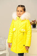 Яркая зимняя куртка на девочку «Кейт-зима» с натуральным мехом ТМ MANIFIK