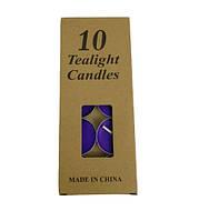 Свечи чайные синие набор 10 шт
