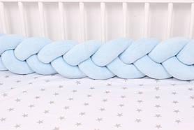 Бортик косичка в кроватку Нежно голубая 15х120 см