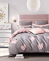 Качественное постельное белье Розовое сердце, евро размер