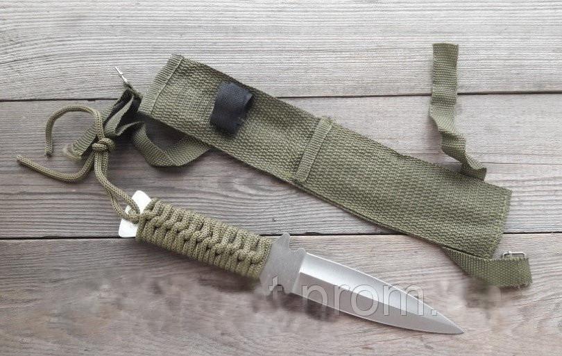 Ножей для метания со шнуровкой на рукояти цвета хаки + нейлоновый чехол, для охотника/ рыбака / туриста