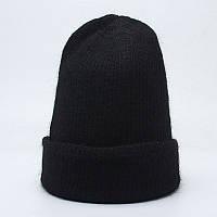 Зимняя вязаная женская шапка черного цвета, фото 1
