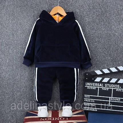 Спортивный костюм  детский утепленный на плюше 1.5-2 года синий, фото 2