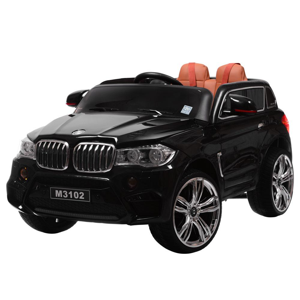 Дитячий електромобіль Джип M 3102 (MP4) EBLR-2, BMW X5, EVА колеса, Шкіряне сидіння, чорний
