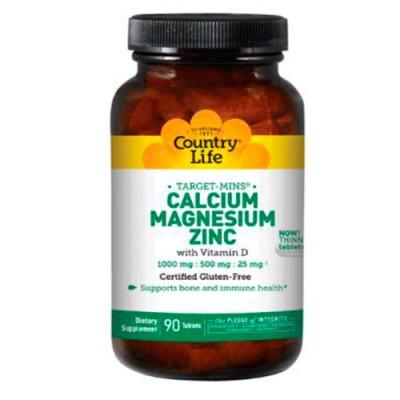 Минеральный комплекс Calcium,Magnesium,Zinc + D3 (180 табл.) Country Life