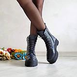 🍁 Женские демисезонные высокие кожаные ботинки на шнуровке WooDstock (синий лак), фото 2