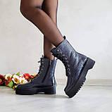 🍁 Женские демисезонные высокие кожаные ботинки на шнуровке WooDstock (синий лак), фото 3