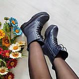 🍁 Женские демисезонные высокие кожаные ботинки на шнуровке WooDstock (синий лак), фото 4