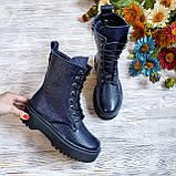 🍁 Женские демисезонные высокие кожаные ботинки на шнуровке WooDstock (синий лак), фото 6