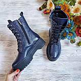 🍁 Женские демисезонные высокие кожаные ботинки на шнуровке WooDstock (синий лак), фото 8