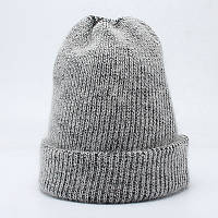 Зимняя вязаная женская шапка серого цвета опт, фото 1