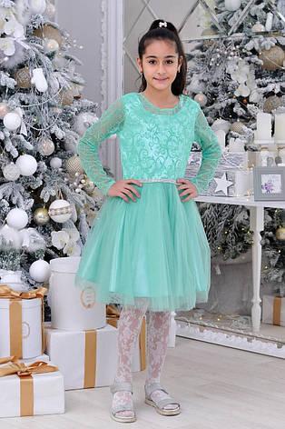 Детское нарядное платье  р.6-14 лет опт мята, фото 2