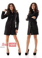 Пальто женское кашемировое на пуговицах - Черный
