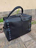 Женская черная кожаная сумка 01039