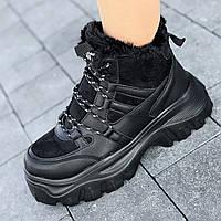 Кроссовки женские зимние черные  на толстой подошве, спортивные ботинки (Код: 1589)