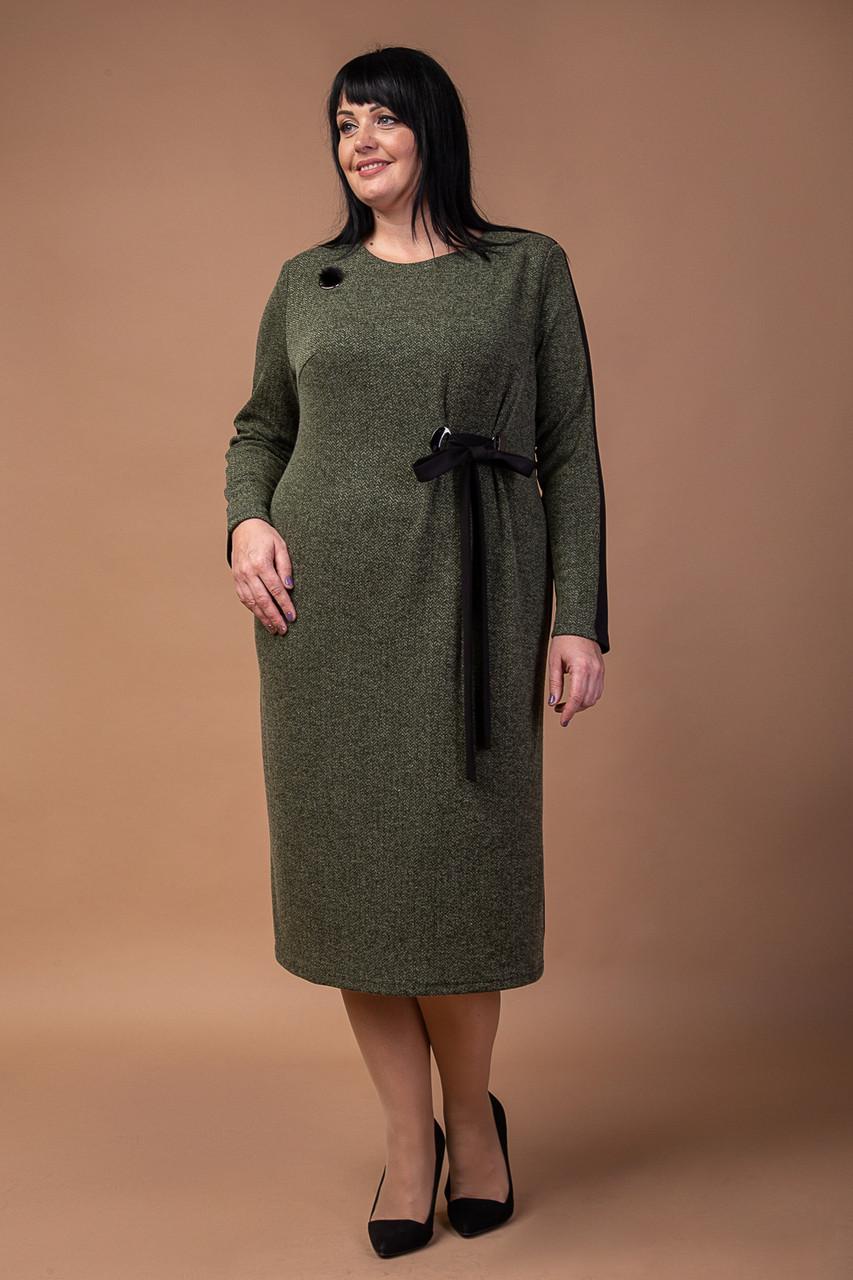 Трикотажное женское платье с длинными рукавами