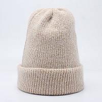 Зимняя вязаная женская шапка бежевого цвета опт, фото 1