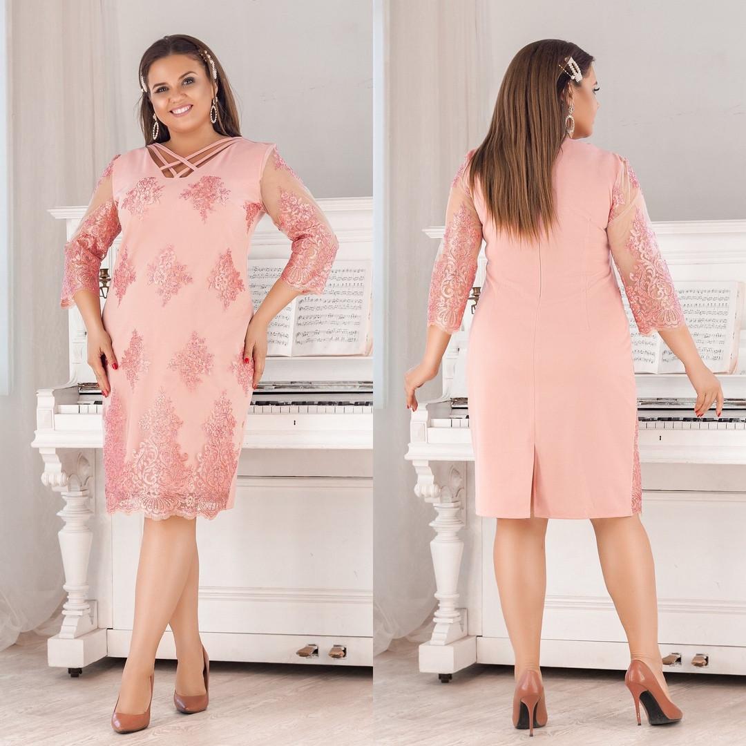 Женское силуэтное платье с отделкой сетки с блеском и декором пайетки 50,52, 54, 56