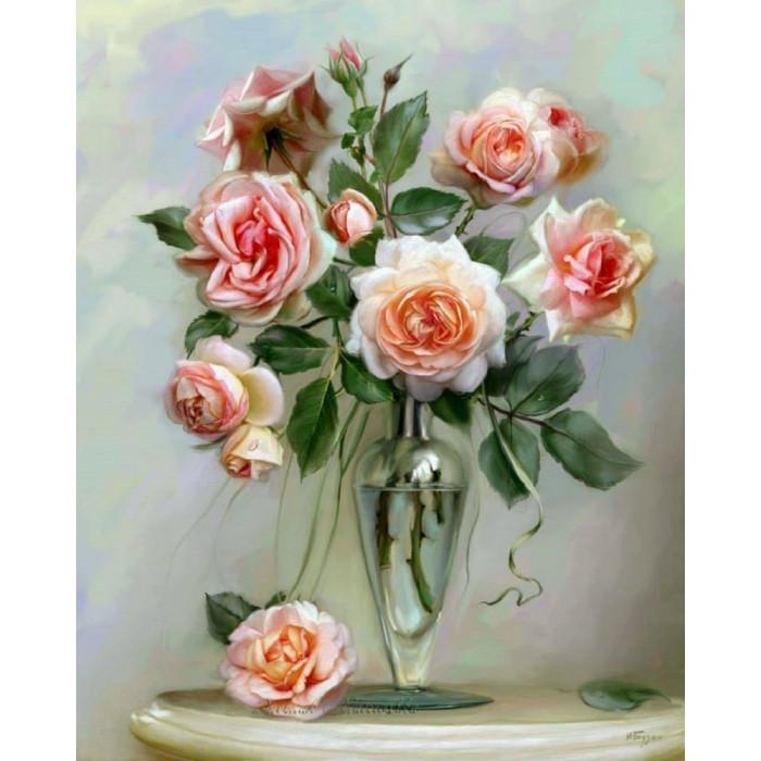 Картина по номерам Трепетные розы КНО2034 Идейка 40x50см