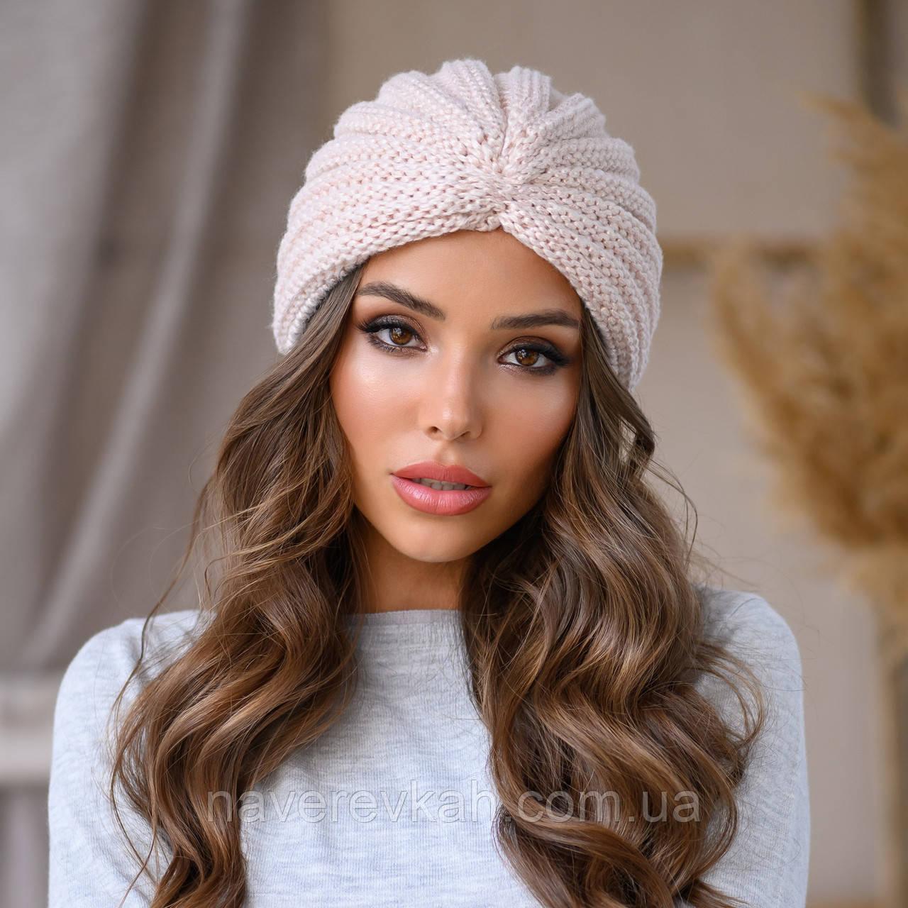 Женская зимняя теплая чалма вязанная акрил шерсть