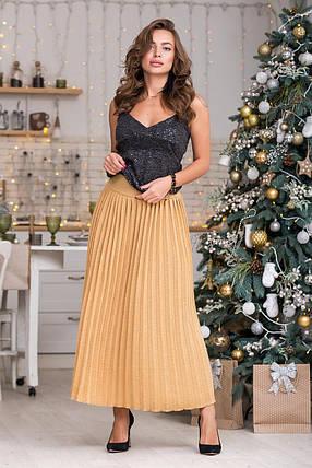 Вязаная юбка плиссе макси (светлый янтарь), фото 2