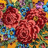 Времена года. Лето. 707-6, павлопосадский платок (шаль) из уплотненной шерсти с шелковой вязаной бахромой, фото 4
