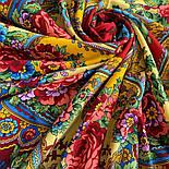 Времена года. Лето. 707-6, павлопосадский платок (шаль) из уплотненной шерсти с шелковой вязаной бахромой, фото 6