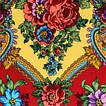 Времена года. Лето. 707-6, павлопосадский платок (шаль) из уплотненной шерсти с шелковой вязаной бахромой, фото 5