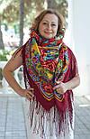 Времена года. Лето. 707-6, павлопосадский платок (шаль) из уплотненной шерсти с шелковой вязаной бахромой, фото 8