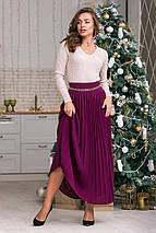 Вязаная юбка плиссе макси  (темная фуксия), фото 2