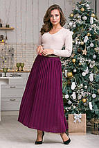 Вязаная юбка плиссе макси  (темная фуксия), фото 3