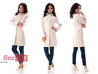Пальто женское кашемировое на пуговицах - Светло бежевый