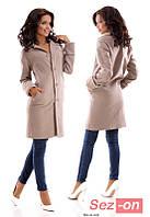 Пальто женское кашемировое на пуговицах - Бежевый
